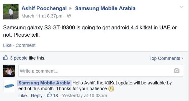 Samsung, Galaxy S3, Android 4.4 KitKat