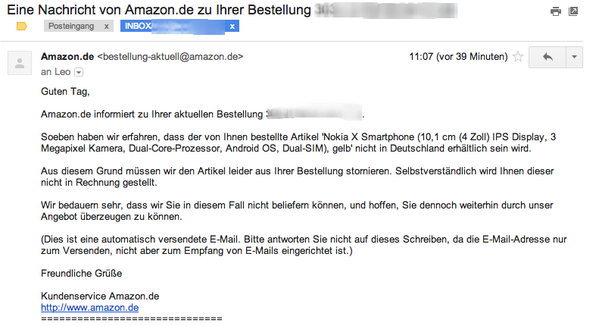 Nokia X, Amazon, Stornierung