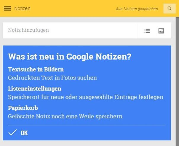 Google Notizen, Google