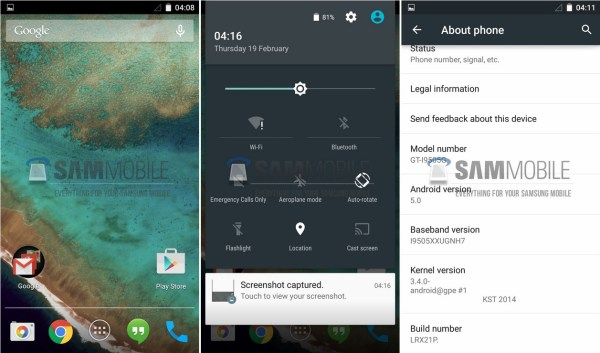 Samsung Galaxy S4 Google Play Edition Android 5.0 Lollipop