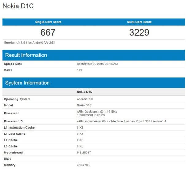 Nokia D1C GeekBench Android Smartphone