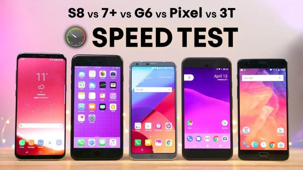 Samsung Galaxy S8 vs. LG G6 vs. OnePlus 3T vs. Pixel Speed-Test