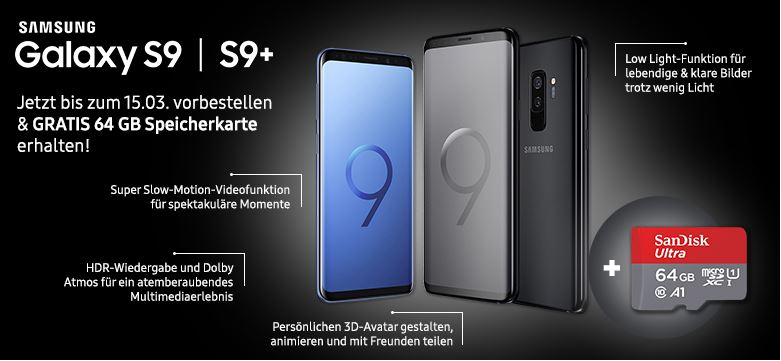 samsung galaxy s9 und galaxy s9 mit kostenloser 64 gb. Black Bedroom Furniture Sets. Home Design Ideas