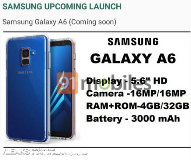 Samsung Galaxy A6 2018 Android Smartphone
