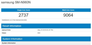 Samsung Galaxy Note 9 SM-N960N Geekbench