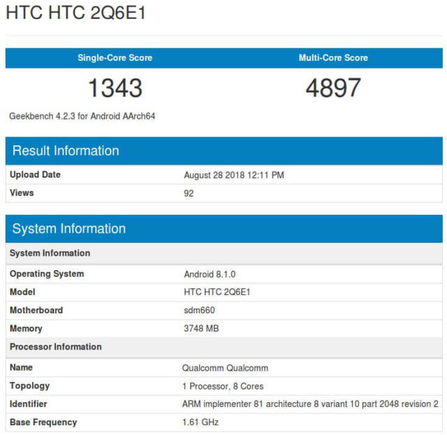 HTC U12 Life Geekbench-Benchmark