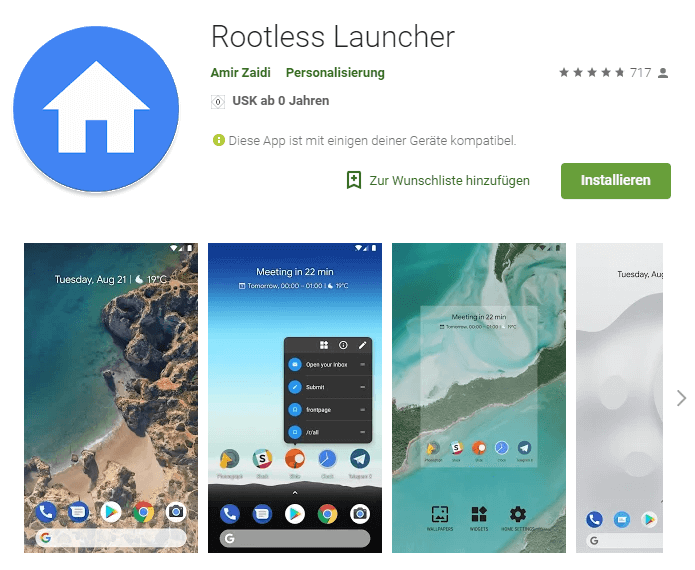 Rootless Launcher Google Play