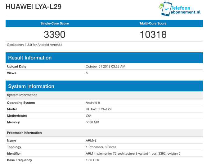 Huawei Mate 20 Geekbench-Benchmark