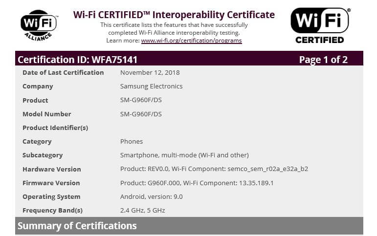 Samsung Android 9 Pie Wi-Fi Alliance