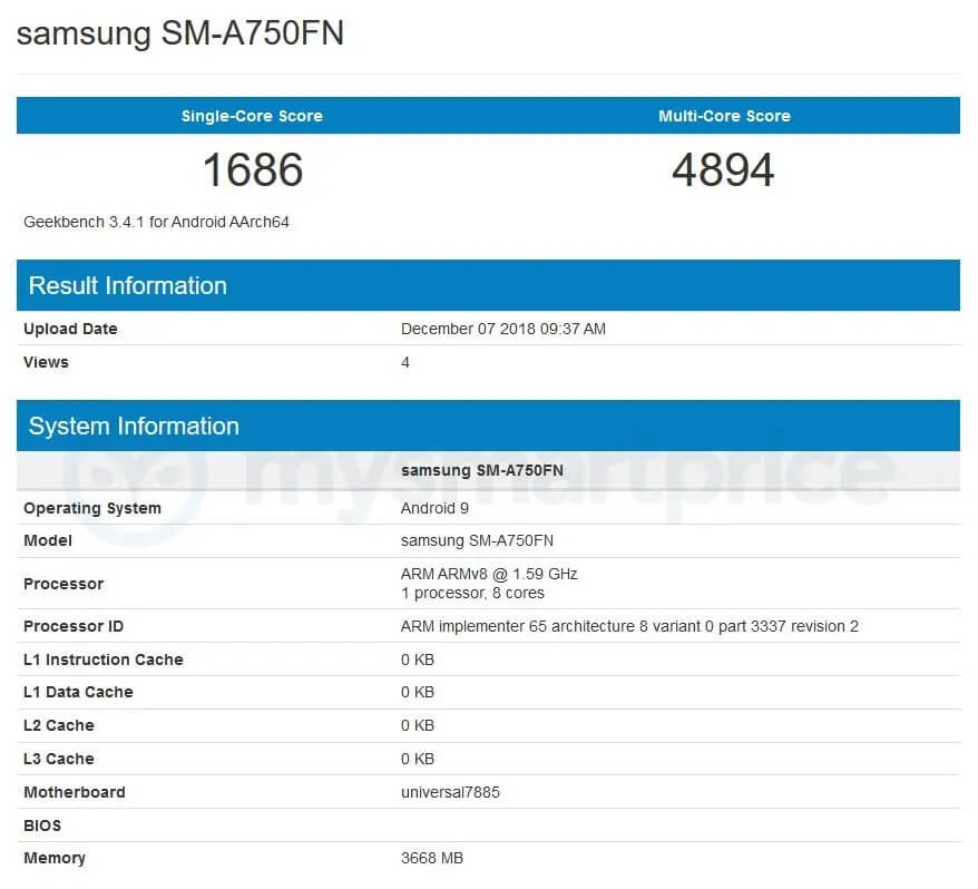 Samsung Galaxy A7 2018 Android 9 Pie Benchmark