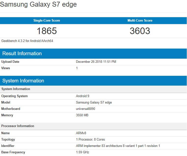 Samsung Galaxy S7 edge Android 9 Pie Benchmark