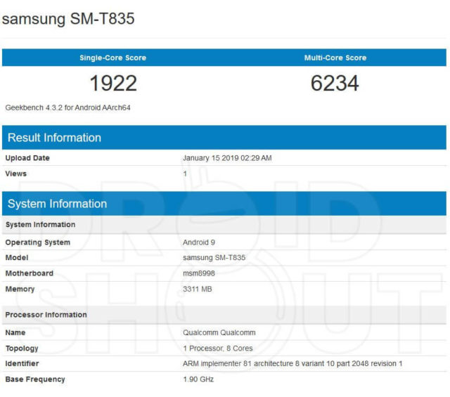 Samsung Galaxy Tab S4 Geekbench Android 9 Pie