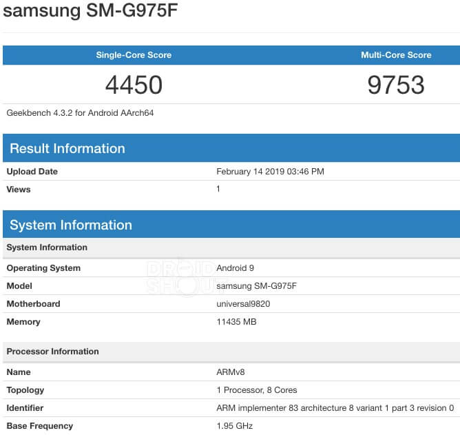 Samsung Galaxy S10+ 12 GB RAM Benchmark