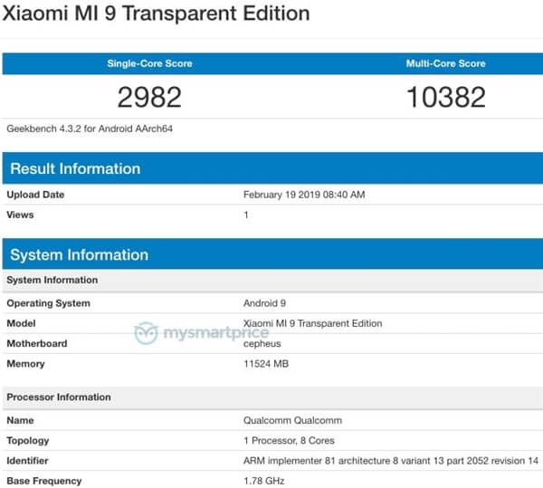 "Xiaomi Mi 9 ""Transparent Edition"" Benchmark"