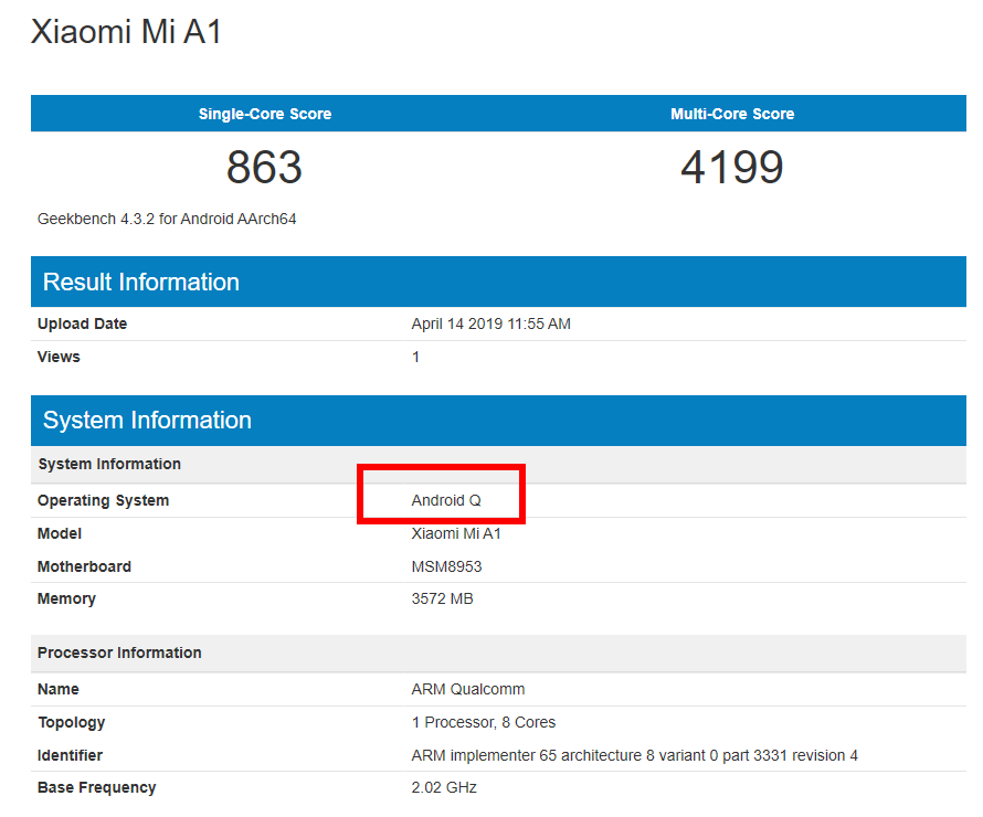 Xiaomi Mi A1 Android 10 Q Benchmark