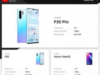 """YouTube Signature"" Huawei P30, P30 Pro und Honor View20 Eintrag"