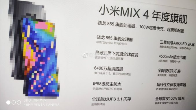 Xiaomi Mi Mix 4 Spezifikationen Leak