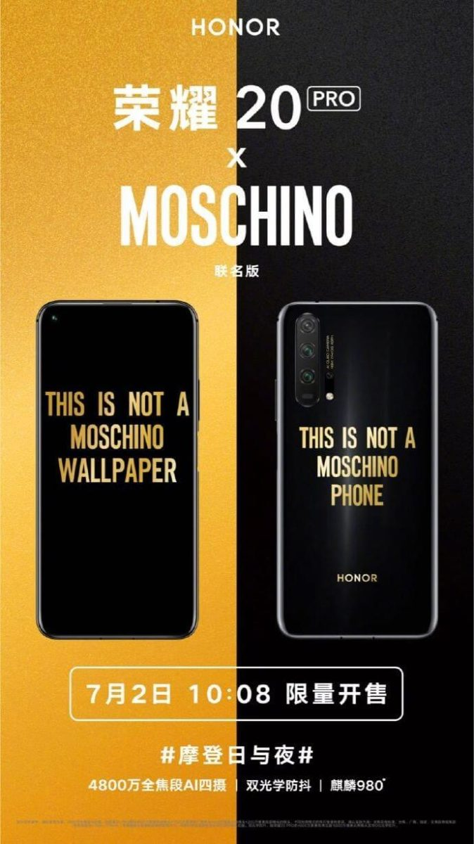 Honor 20 Pro MOSCHINO Edition Teaser
