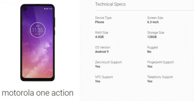Motorola One Action Spezifikationen durch Android Enterprise-Listung