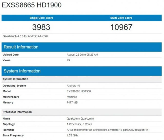 OnePlus 7T Android 10 Geekbench