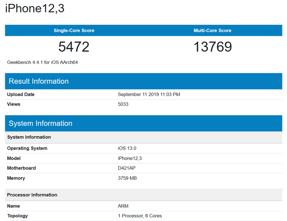 Apple iPhone 11 A13 Bionic Geekbench-Benchmark