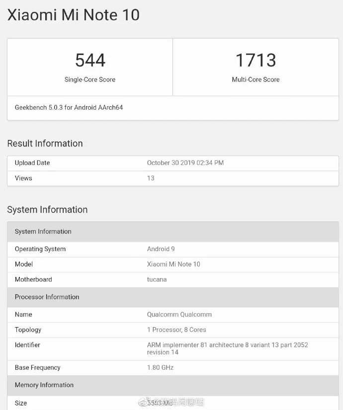 Xiaomi Mi Note 10 Geekbench