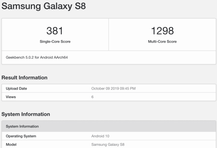 Samsung Galaxy S8 Android 10 Geekbench