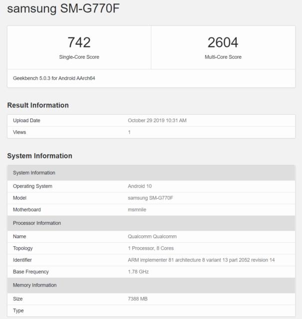 Samsung SM-G770F Geekbench-Specs Galaxy S10 Lite