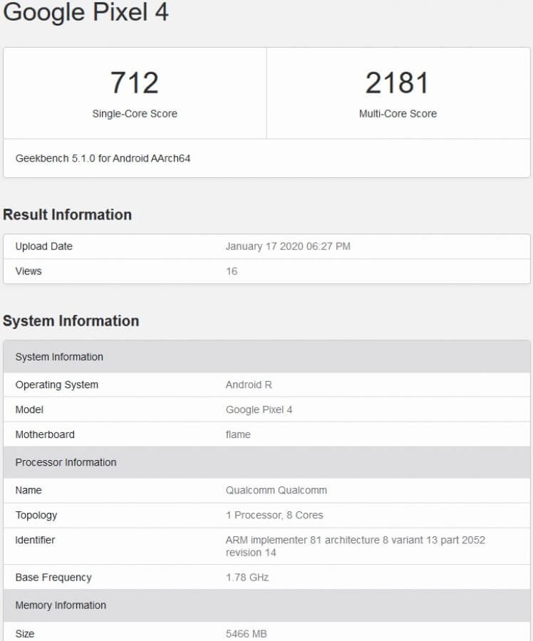 Android 11 Geekbench