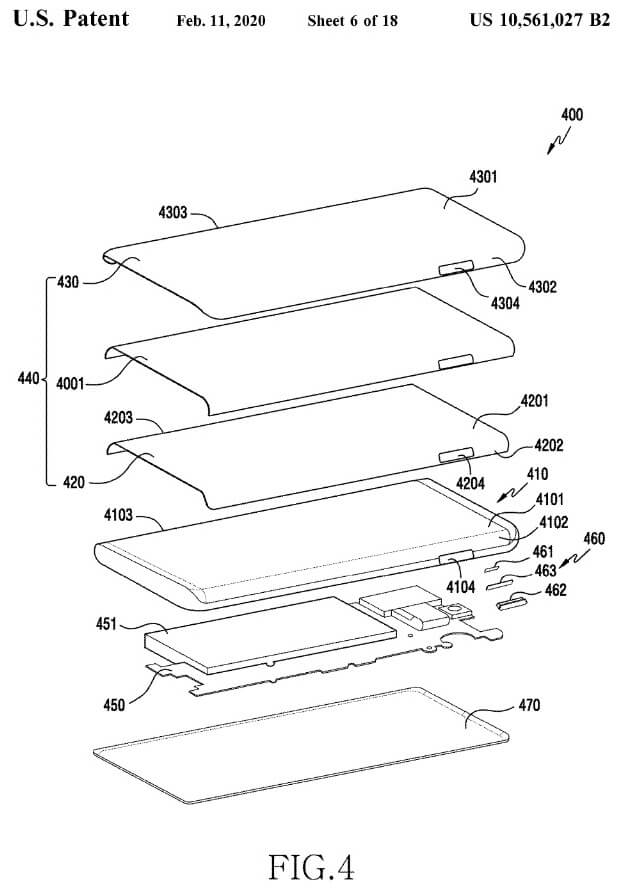 Samsung Galaxy Note 20 Waterfall Display Punch Hole-Buttons Design-Patent