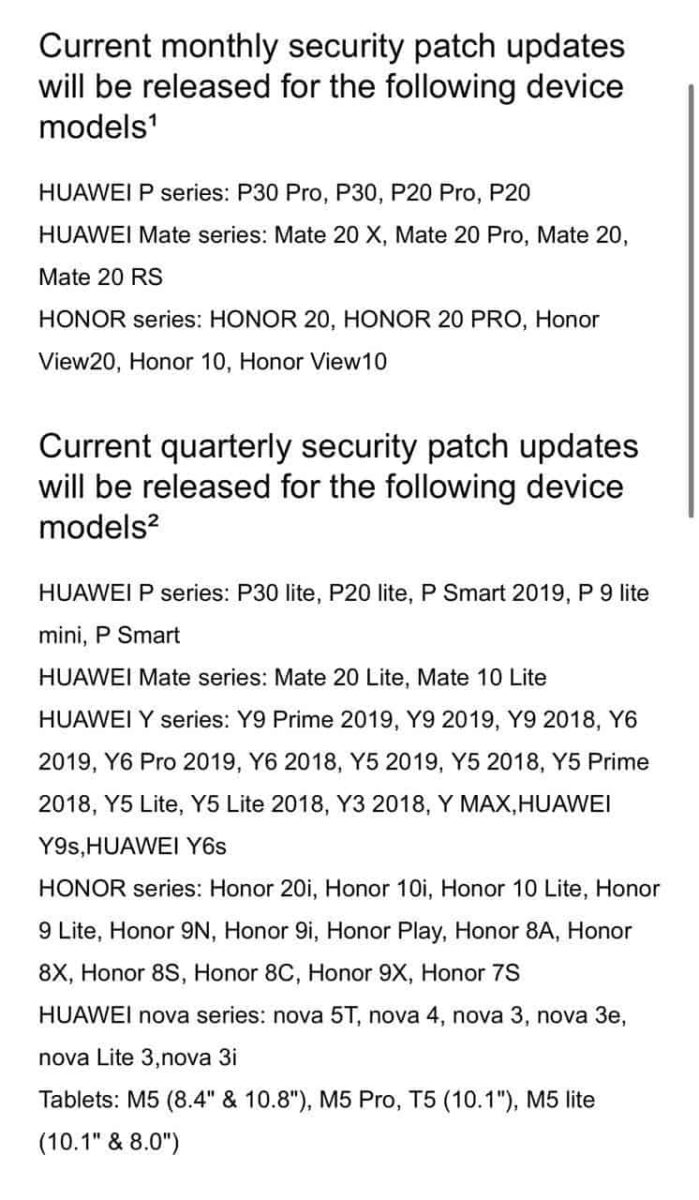 Huawei EMUI monthly device