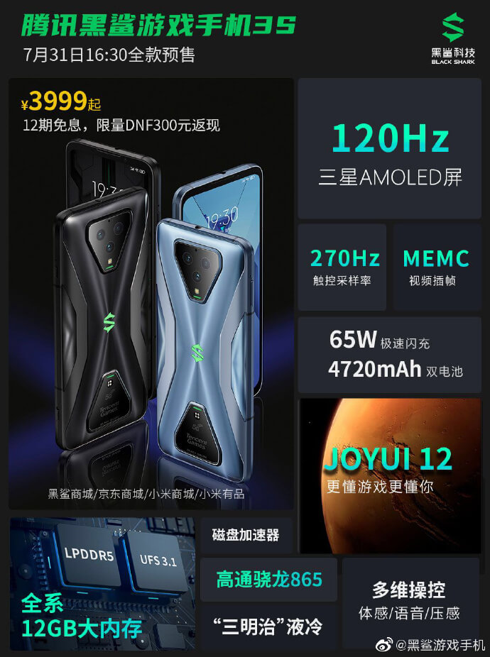 Xiaomi Black Shark 3S Spezifikationen