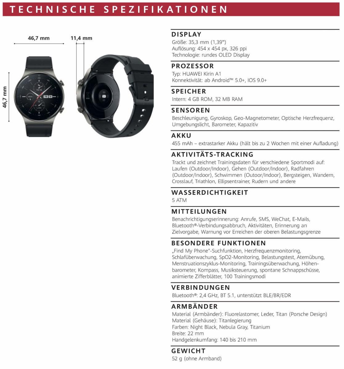 Huawei Watch GT 2 Pro Spezifikationen