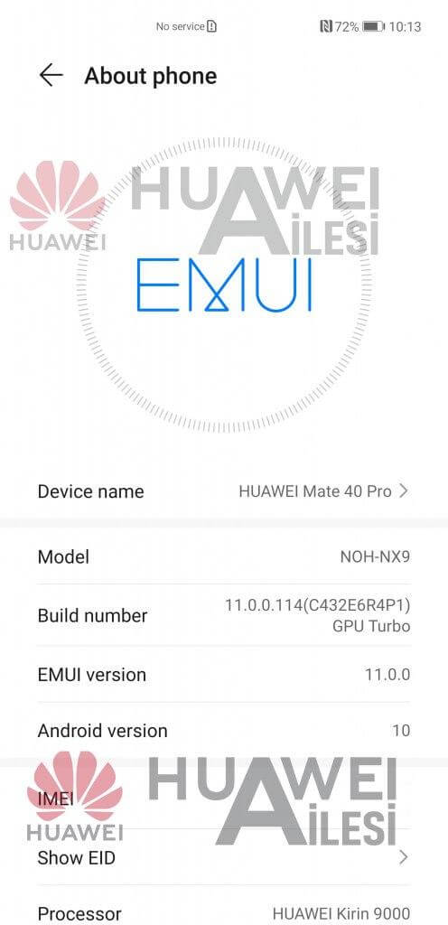 Huawei Mate 40 Pro EMUI 11 Android 10